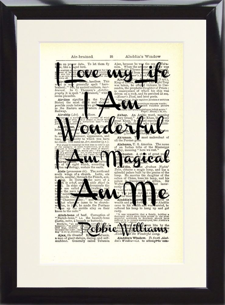 Robbie Williams Love My Life Music Gift Song Lyric Dictionary Art ...