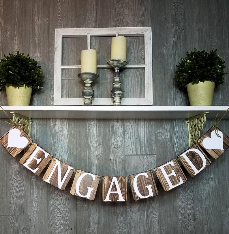 Engaged Banner, Wood Look Chipboard Banner, Engagement Party Decoration, Bridal Shower Decoration, Photo Prop For Engagement, She Said Yes!