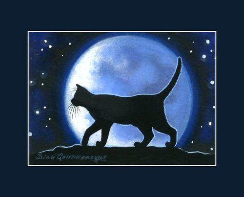 Night Of The Big Moon By I Garmashova Black Cat Art Black Cat Cat Art