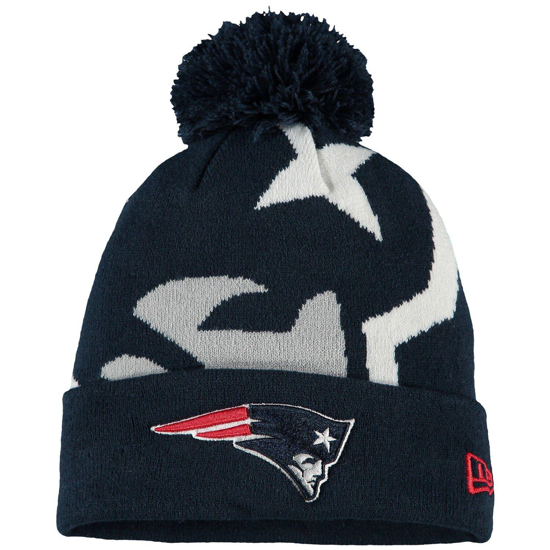 Men S New Era Navy New England Patriots Logo Whiz 3 Cuffed Pom Knit Hat New England Patriots Logo New England Patriots Patriots Logo