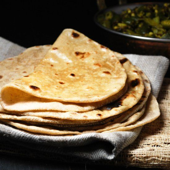An unleavened Indian flatbread made with whole flour that is perfect for scooping up curries.