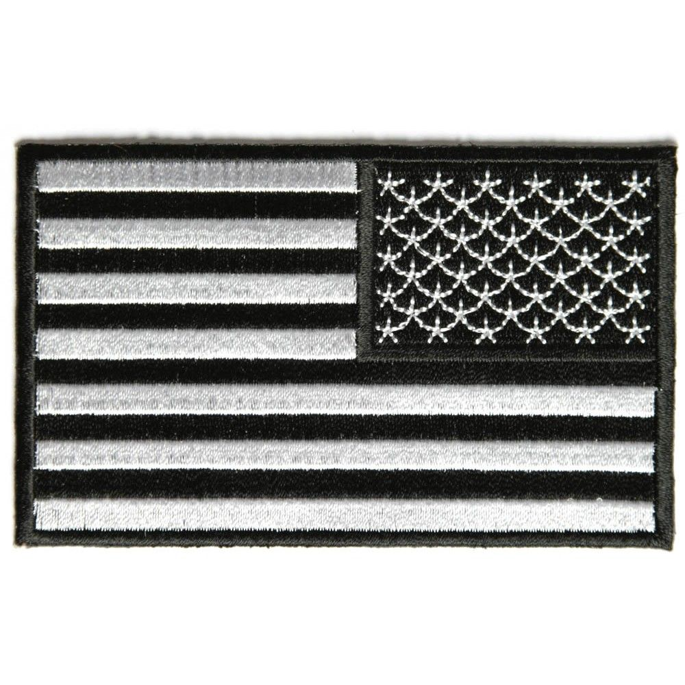 US USA American Flag patch REVERSE SUBDUED BLACK and GRAY  **LOT of 8**