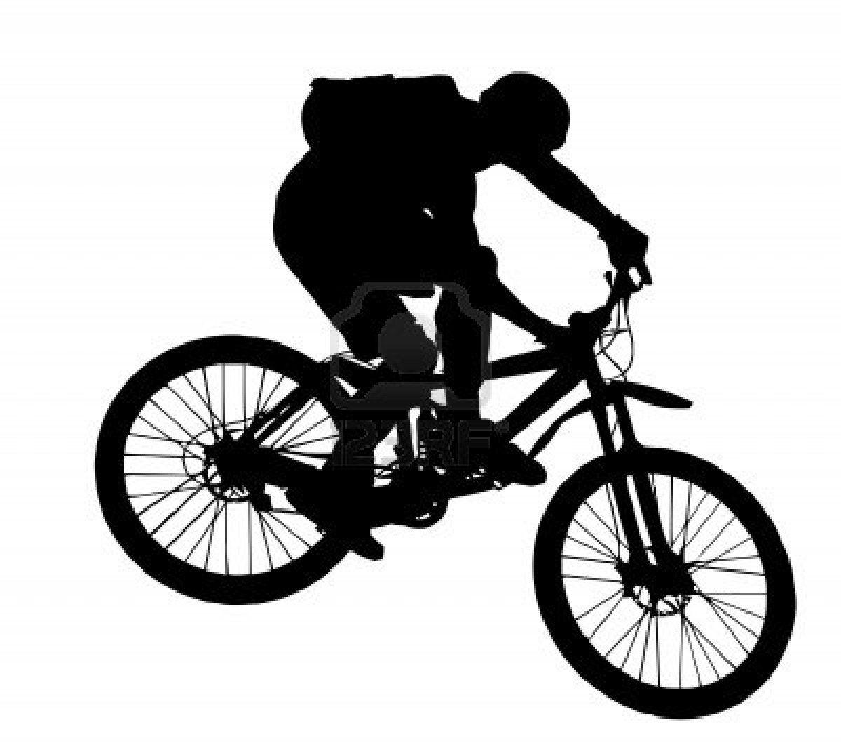 Line Art Jogja : Vector jump with a mountain bike silhouette