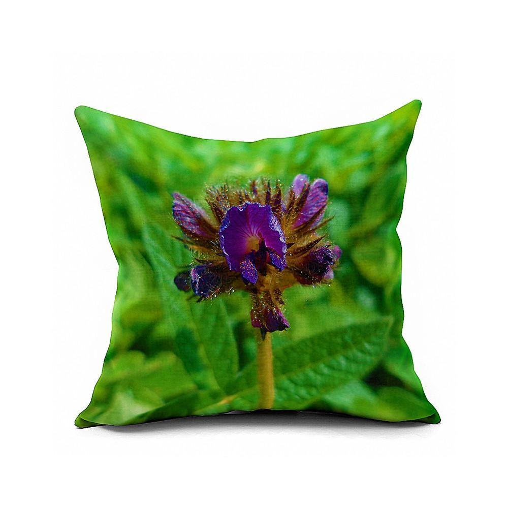 Cotton Flax Pillow Cushion Cover Flower   HD075