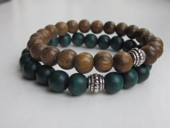 Wood Bead Bracelet Mens Bracelets Simple Wooden Green Uk Er