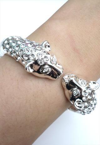 Leopard Head Bangle - Silver Crystal