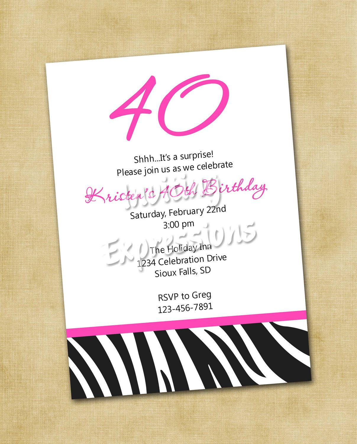 Create 40th Birthday Invitation Wording