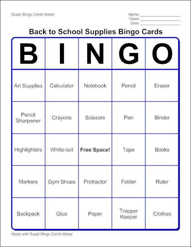 Sample Bingo Card  My Classroom Ideas    Bingo Card
