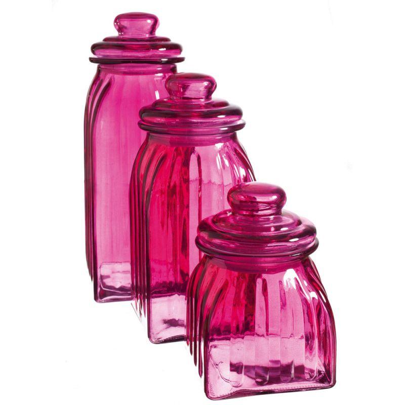New Hot Pink Gl Jars Canisters Kitchen Decor Storage Magenta Canister Set Enamelware Vintage