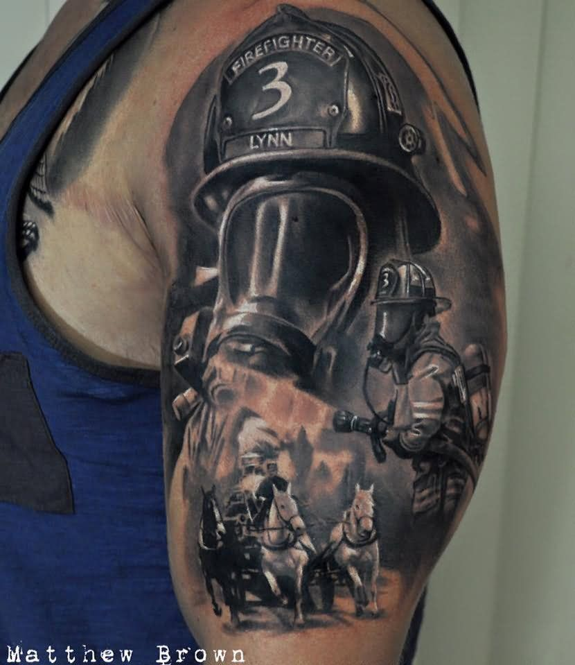 Black Ink Firefighter Tattoo On Half Sleeve Tattoos