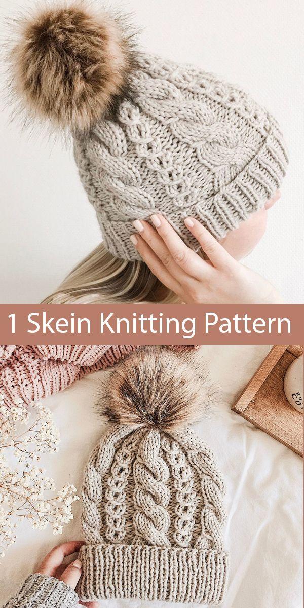 Knitting Pattern For One Skein Kielo Beanie Hat In Bulky Yarn In 2020 Beanie Knitting Patterns Free Hat Knitting Patterns Cable Knit Hat Pattern