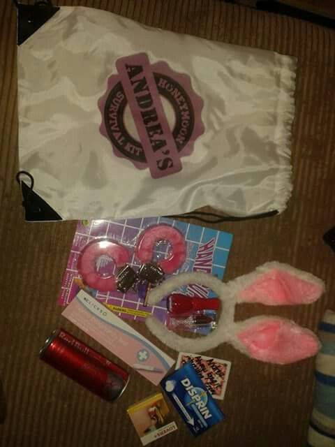 By far the coolest bachelorette gift... Custom made honeymoon survival bag