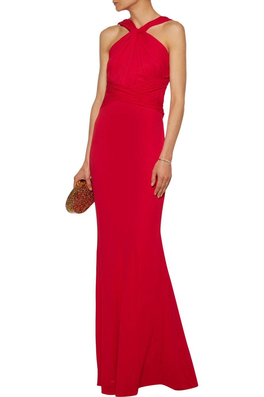 Shop on-sale Badgley Mischka Gathered stretch-crepe gown. Browse ...