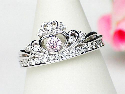 platinum the middle natural pink diamonds 0136ct023ct crown engagement rings eternity type - Crown Wedding Ring