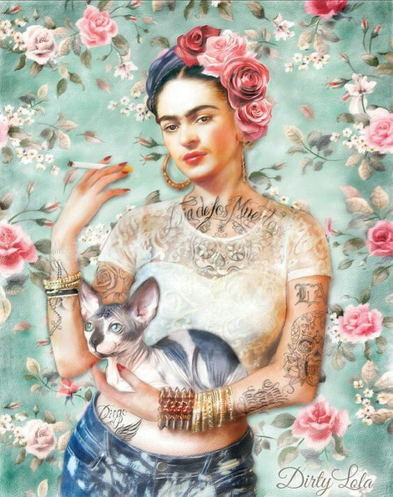 Frida Kahlo 🐱🌹 #Fondo #Ilustracion #Wallpaper #IPhone #Samsung #Whatsapp #Facebook #Twitter #México