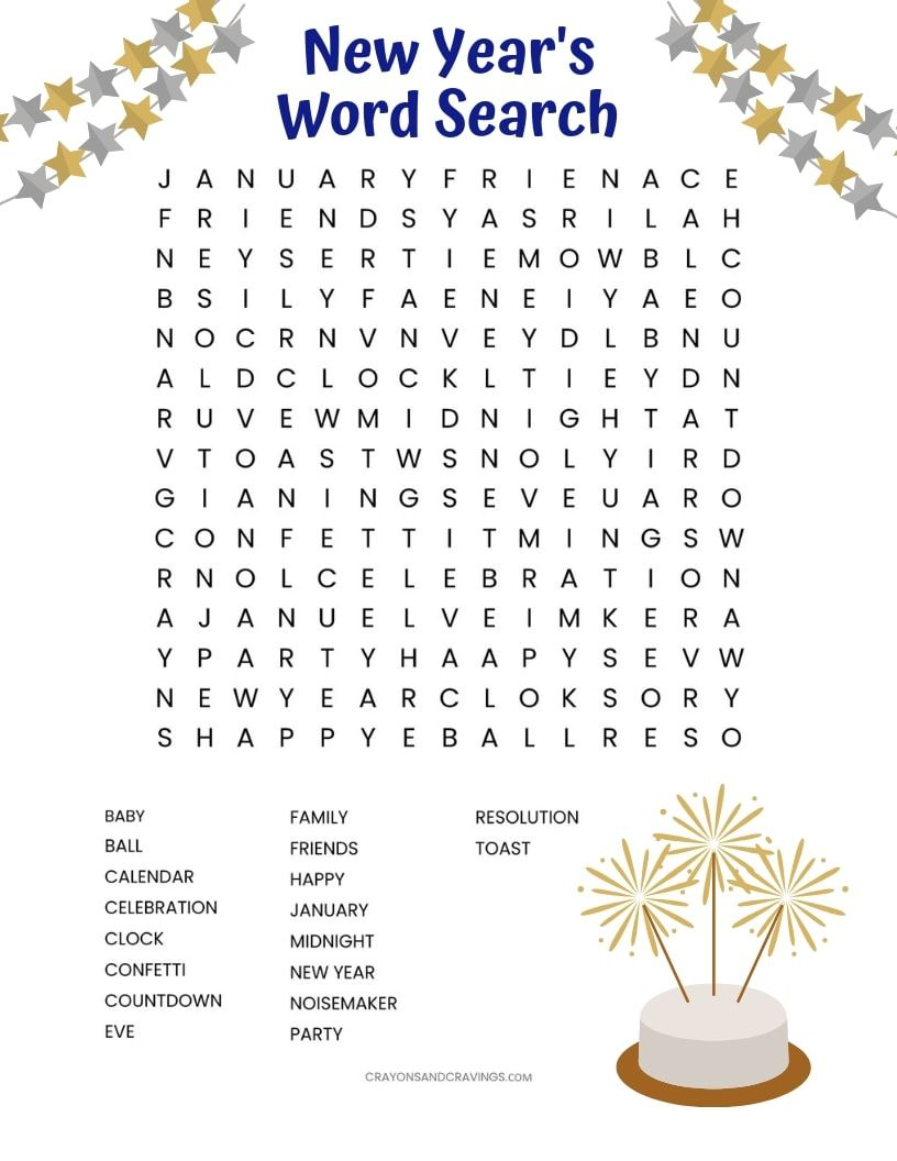 New Year S Word Search Free Printable New Year Words Newyear
