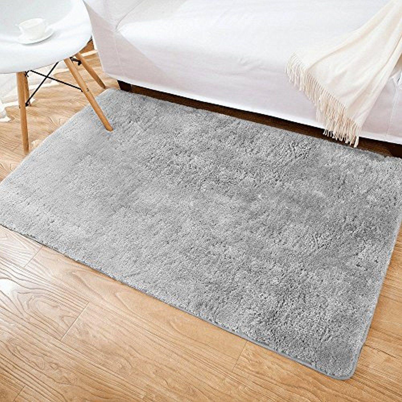 Shaggy Area Rug Leevan Microfiber Non Slip Rubber Back Floor Mat