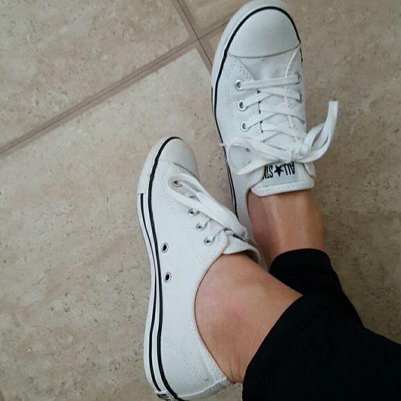 All white convese all stars, slim sole