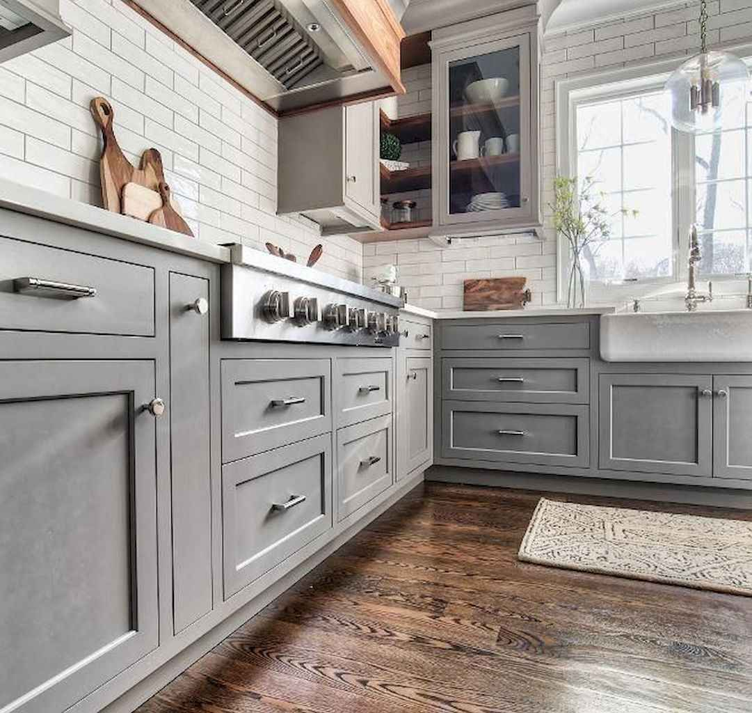 65 Modern Farmhouse Kitchen Cabinet Makeover Ideas Grey Kitchen
