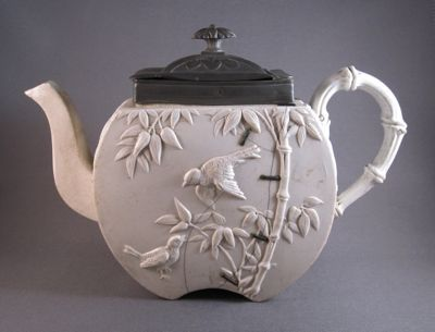 Copeland teapot with staple repair, c.1874 via Past Imperfect: the art of inventive repair.