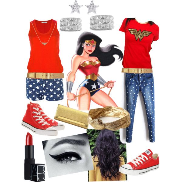 Wonder Woman inspired outfit - maybe w/ no stars on the jeans and just red top. Too obvious.