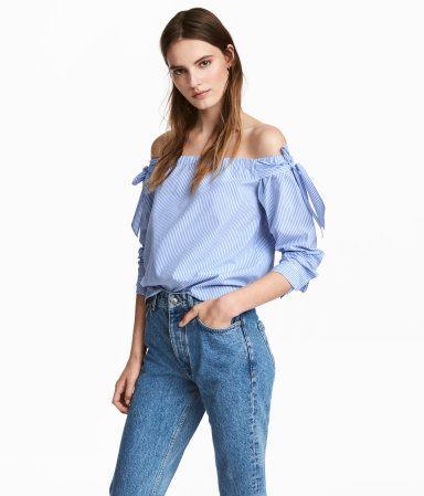 Off-Shoulder-Bluse | Blau/Gestreift | Damen | H&M DE ...