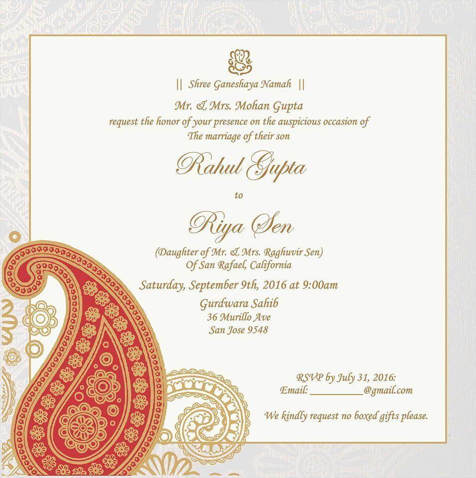 Wedding Invitation Wording For Hindu Wedding Ceremony ...