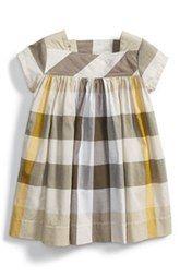 Burberry Button Tab Check Cotton Dress (Baby Girls)