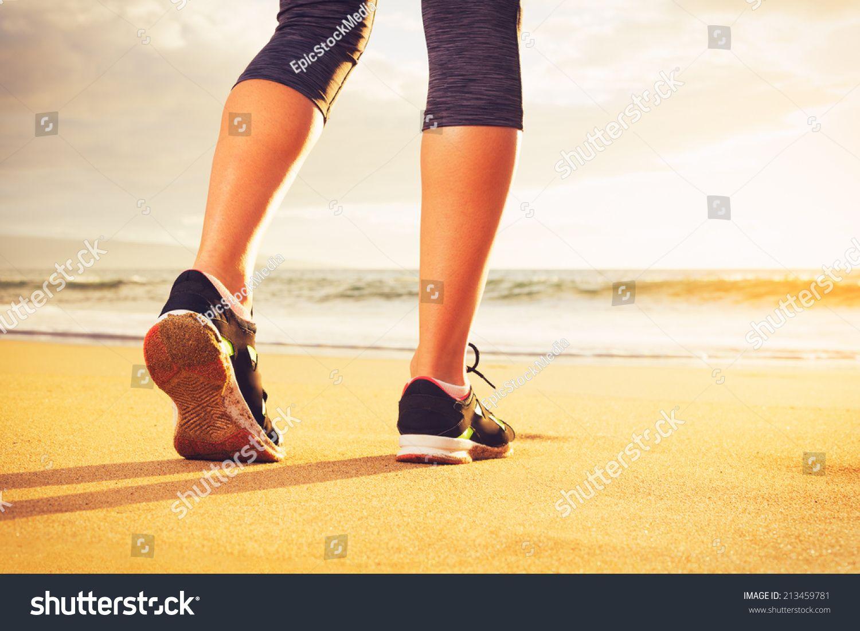 Athlete runner feet running on the beach. Closeup on shoe and legs. Woman sunset fitness workout. Wellness healthy lifes #Ad , #Affiliate, #Closeup#beach#legs#shoe