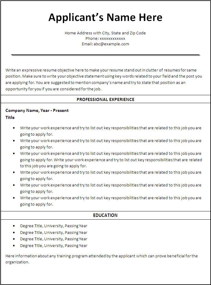 Free Printable Sample Resume Templates -    wwwresumecareer - sample resume simple