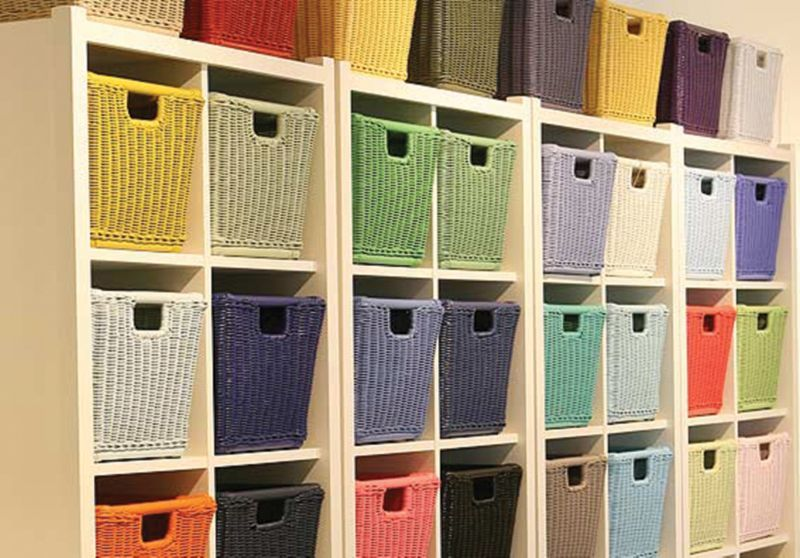 Wicker Baskets Various Colors In Shelf Cubbies Cube Storage