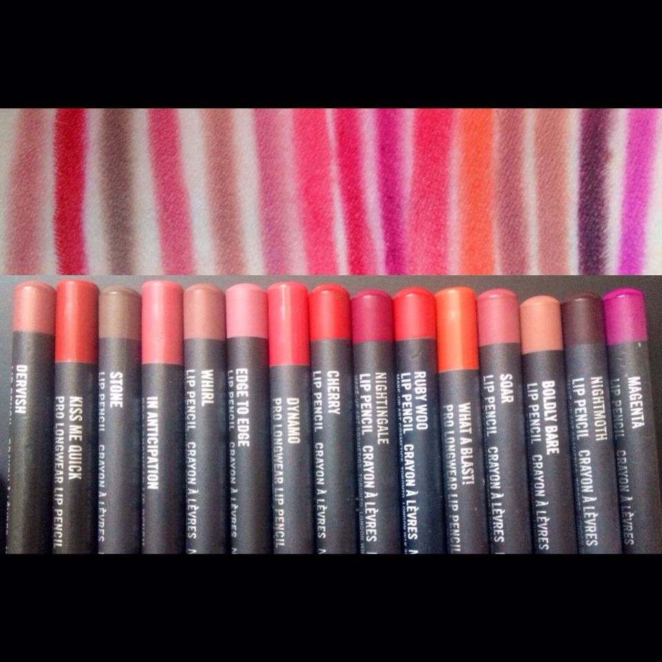 MAC Lip Pencil swatches      From left to right~ #Dervish