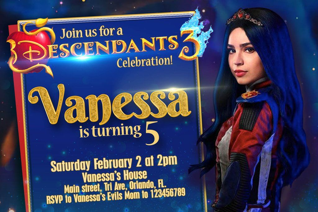 Descendants 3 Invitation Birthday Party - Disney Channel Invitation Digital File - Fast Service: 4 hours or less! UMA Evie Mal Hades #descendants3
