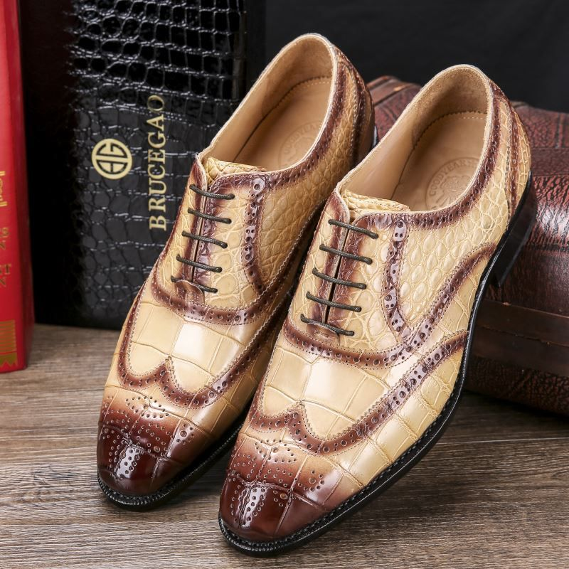 Men's Alligator Leather Wingtip Brogue Oxford Leather Lined