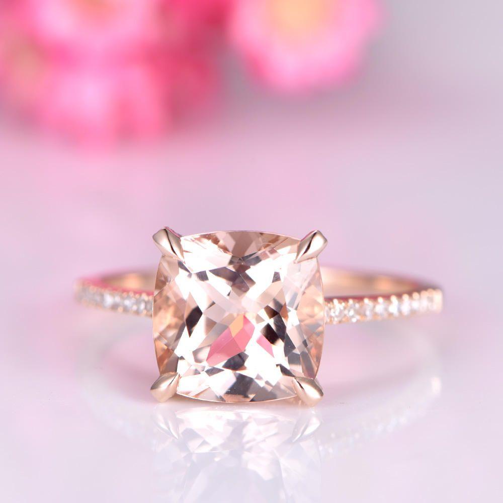 Big cushion morganite engagement ring 9mm morganite ring diamond ...