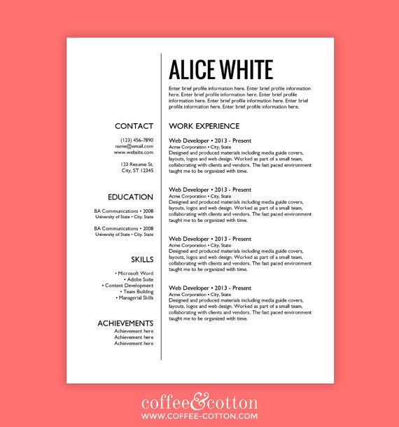 Resume Template Free Cover Letter INSTANT by CoffeeCotton job and