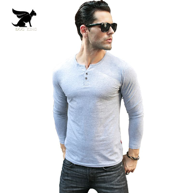 Men's Henley Shirt 2017 Long Sleeve Cotton Tees Slim Fit T-shirt homme Button  placket