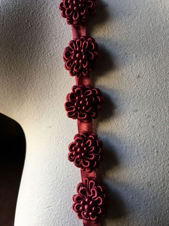 BURGUNDY 11 Beaded Applique Flowers for Bridal Design, Hairclips, Shoe Clips