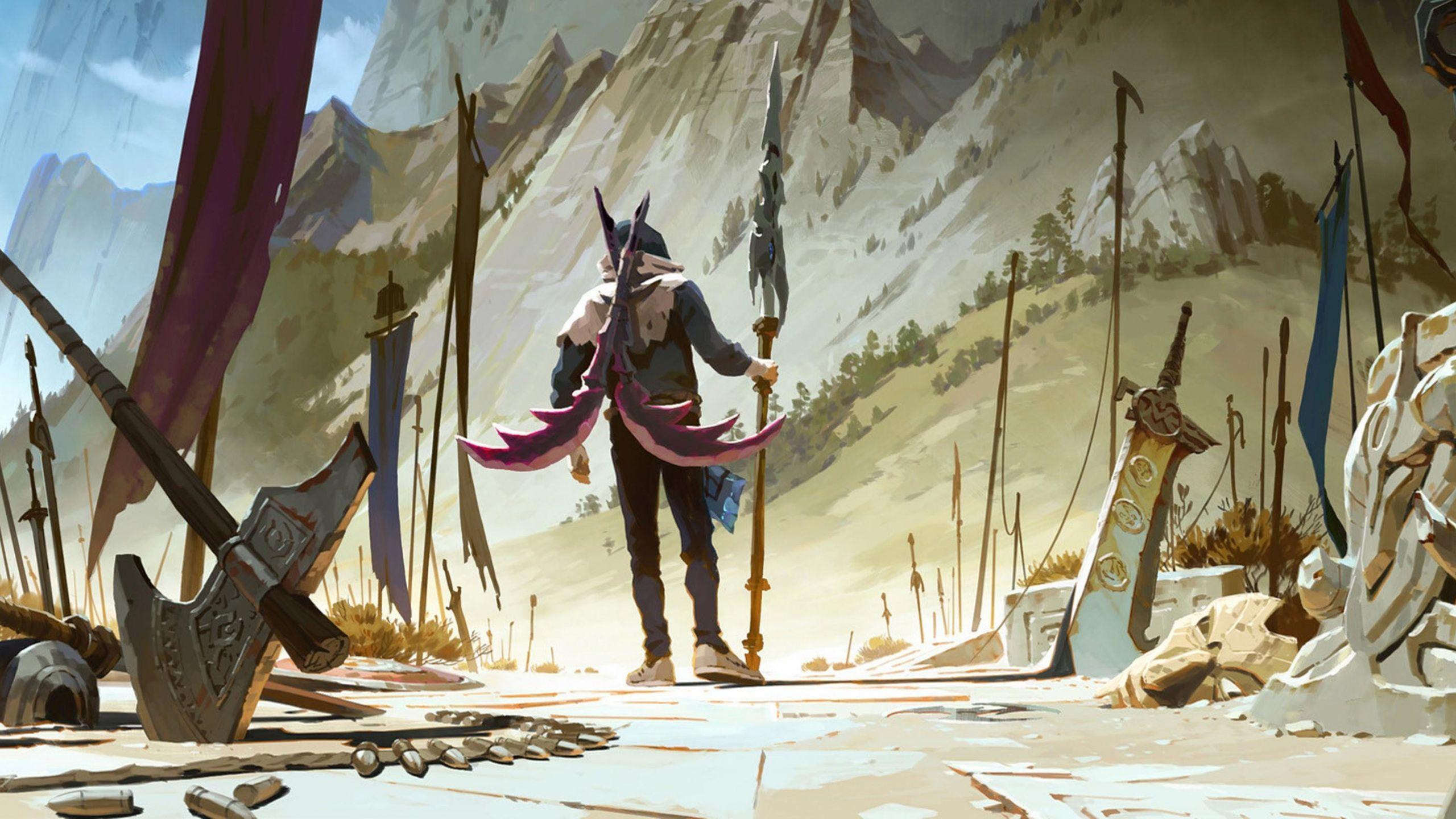 2560x1440 Rise Warrior League Of Legends Wallpaper In 2020 League Of Legends Rise Art Environment Concept Art