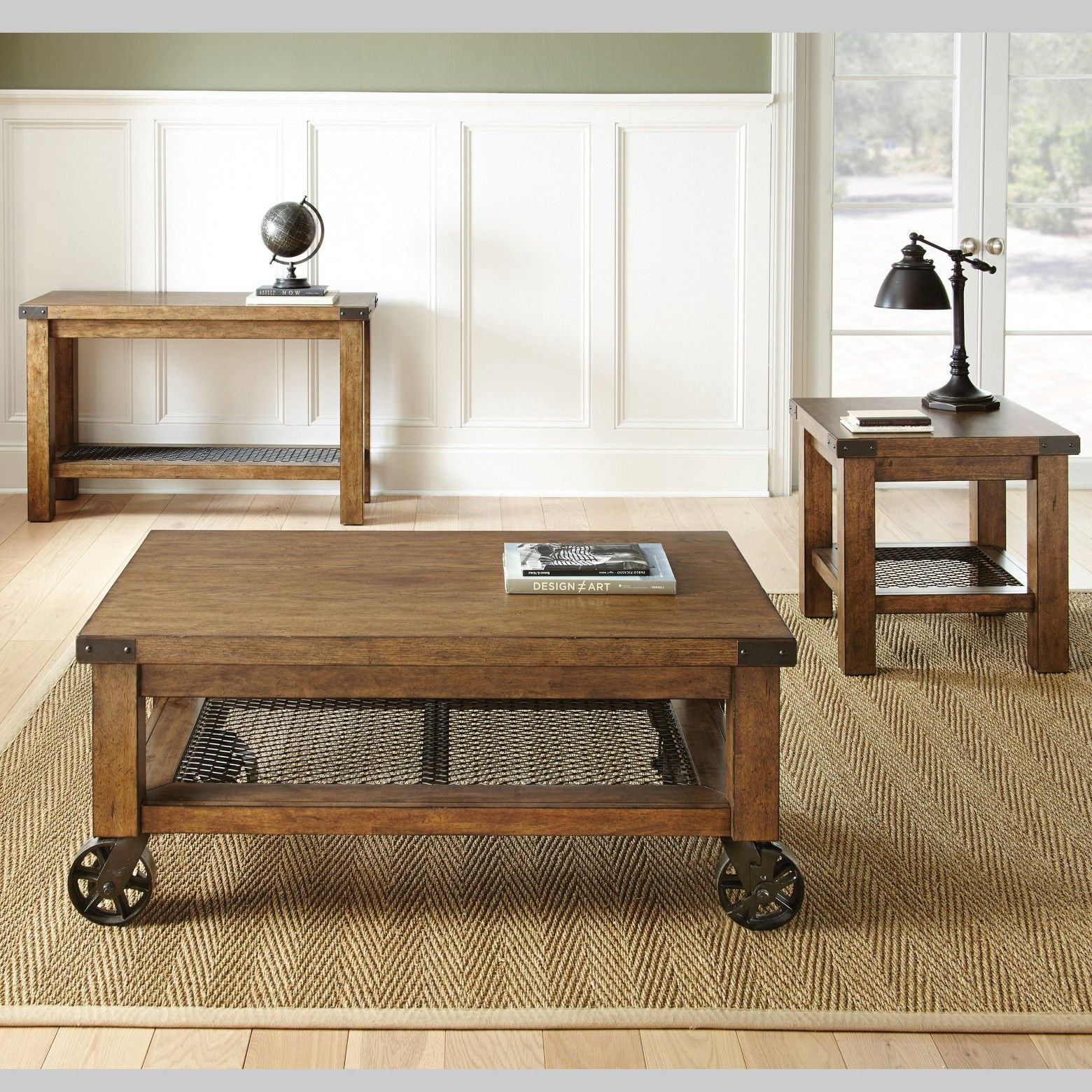 Hailee End Table Oak Steve Silver Coffee Table With Casters Coffee Table Coffee Table With Wheels [ 1560 x 1560 Pixel ]