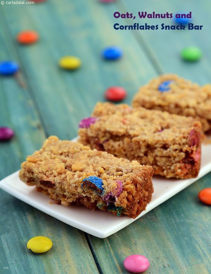 Oats Walnut And Cornflakes Snack Bar Recipe Children S Recipes Kids Recipes Recipe Snack Bar Recipes Snacks Oatmeal Granola