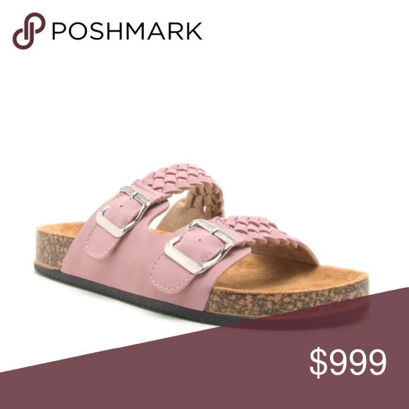c9d1c8b5fa9 Desert Rose Faux Suede Braided Slides Adorable blush faux suede slide  sandals.