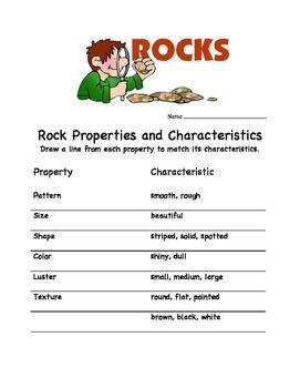 Rock Properties And Characteristics Rock Unit Preschool Learning Activities Characteristics Rocks and minerals worksheets grade