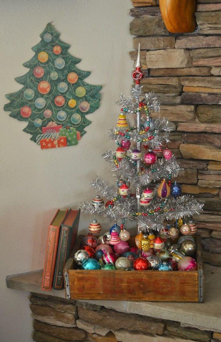 Weihnachtsdeko Lametta.Alter Koffer Deko Weihnachten Vintage Lametta Weihnachtskugel
