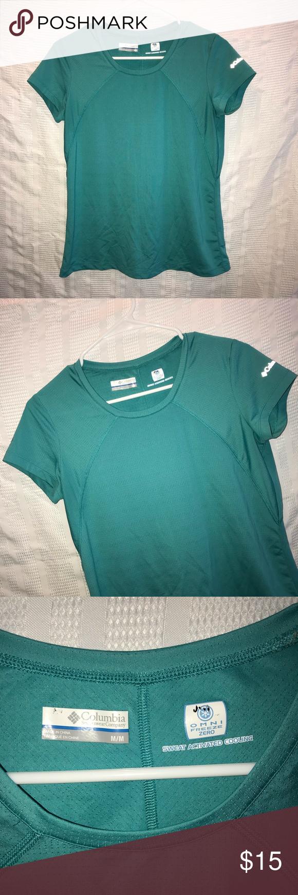Columbia Omni Freeze Zero Sweat Activated Shirt M Cool Shirts