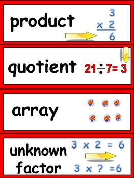 Math Word Wall Cards For Third Grade Common Core Standards Cool