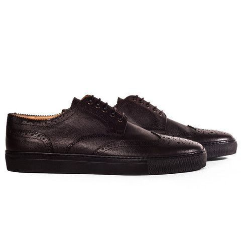 CARBON - Men\'s dark chocolate color textured leather brogue sneakers ...
