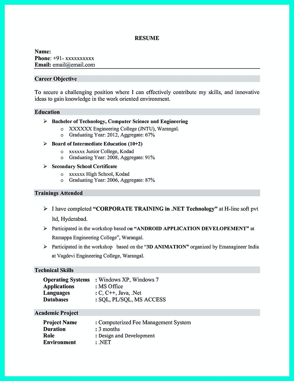 Computer engineering resume includes the skill in the IT