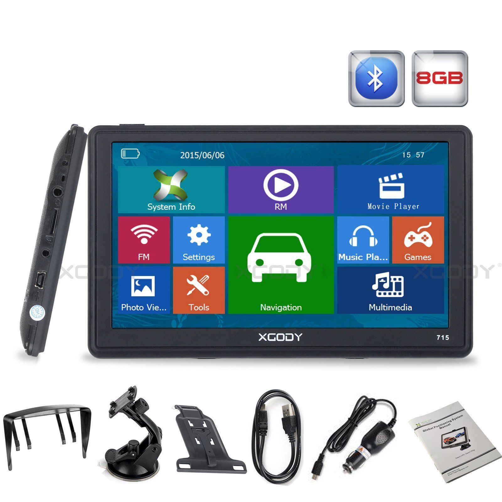 XGODY 7 8GB Truck Car GPS Navigation FM Lorry Sat Nav Navigator Bluetooth AV-IN