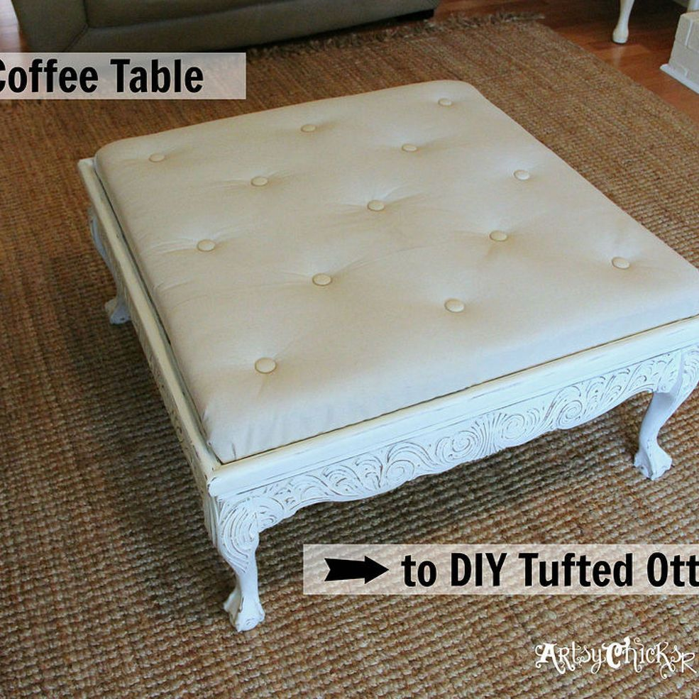 Thrift Store Coffee Table Turned Diy Tufted Ottoman Diy